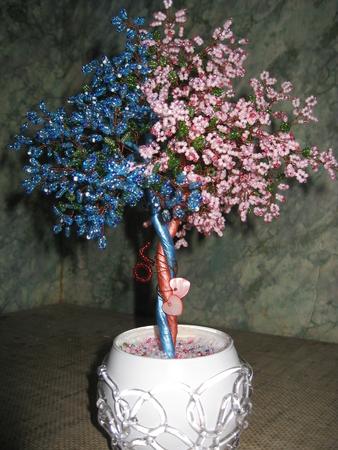 Дерево любви из бисера, высота 25 см.