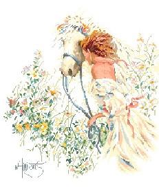 """Вышивка ручной работы.  Ярмарка Мастеров - ручная работа Набор  """"Девушка с лошадью """".  Handmade."""