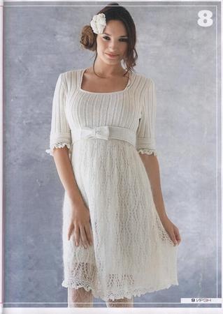 Вязаное спицами ажурное платье - Схемы вязания - Вязаные платья