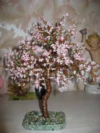 Дерево из бисера Яблоня яблоня из бисера мастер класс.