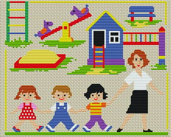 Категория: Люди Просмотров: 625 Дата.  Вышивка крестиком - Детский сад.  28.11.2011.