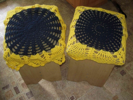 Вязание крючком накидки на стул подсолнух 76