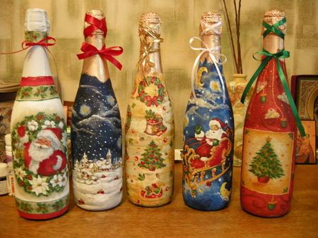 Декупаж бутылок своими руками новый год