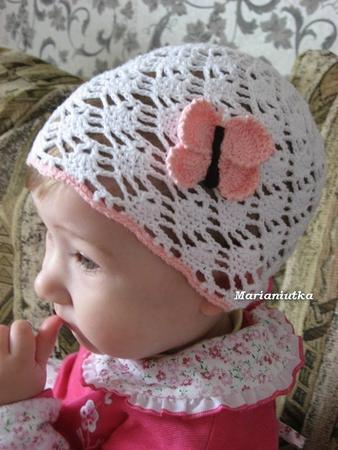 Детские летние шапочки вязаные крючком со схемой, схема вязания ажурного.