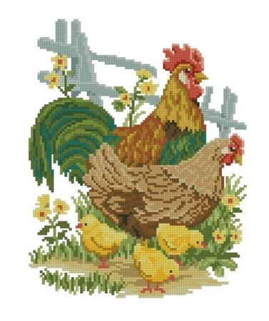 Курица с цыплятами - схема по
