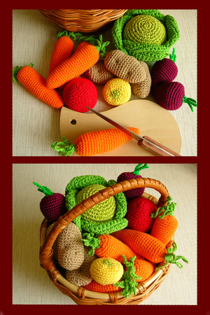 Вязаные овощи.