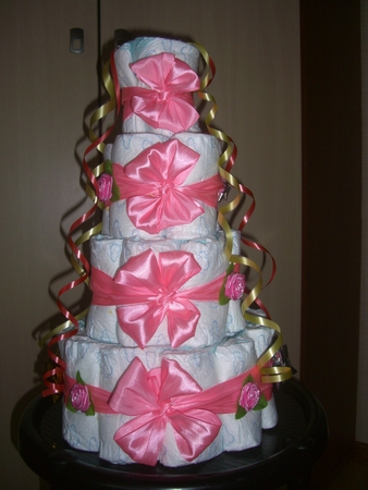 Торт из памперсов для девочки пошагово