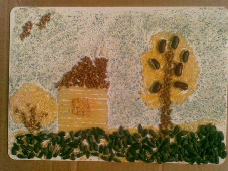 Поделки из осенних листьев- страус.  Материалы: Плотный лист Поделки из крупы - звездочки.