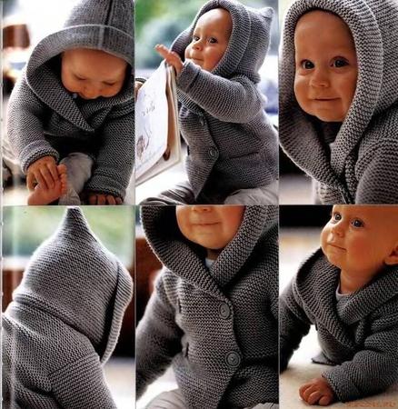 Жакет с капюшоном для малыша.