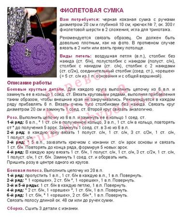 Вязание крючок сумочки с описанием и схемами