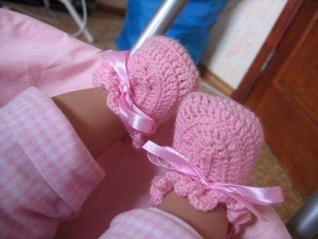 Вязание крючком пинетки для кукол