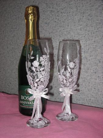 свадебные бокалы ромашковое поле