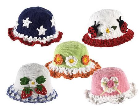 Вязаные детские шапочки на лето