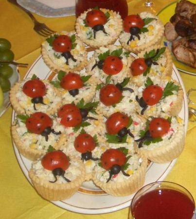 Салаты в тарталетках на день рождения рецепты