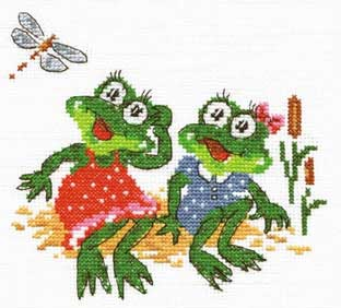 Название: Лягушки-подружки (Арт.  Д-101) Дизайн: Чудесная игла Формат файла: JPG.  Войдите.