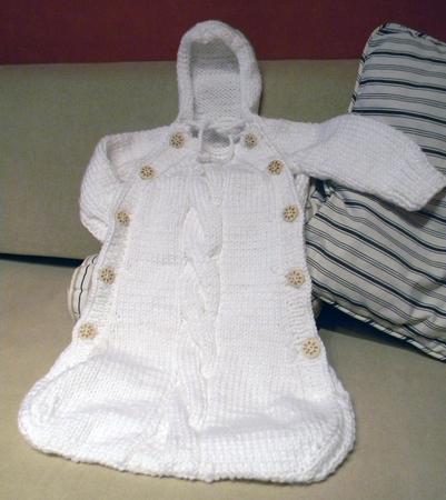 Вязание спицами осеннего конверта для малыша