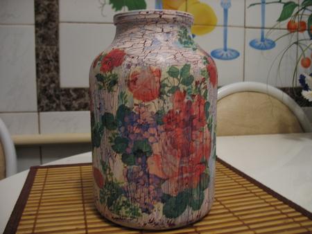 Как сделать из 3 литровой банки вазу своими руками 97