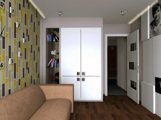 Дизайн спальни узкой с входом справа